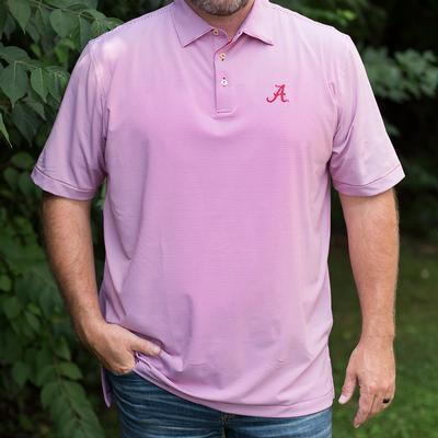 Alabama Men's Peter Millar Crimson Jubilee Stripe Jersey Polo