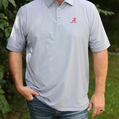 Alabama Men's Peter Millar Black Jubilee Stripe Jersey Polo
