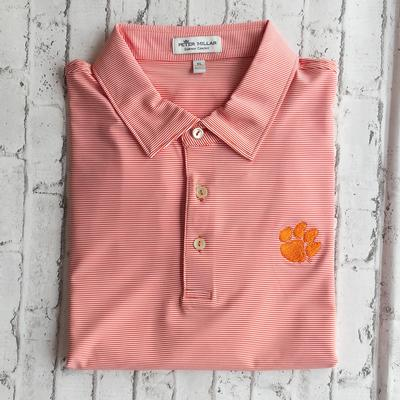 Clemson Men's Peter Millar Orange Jubilee Stripe Jersey Polo