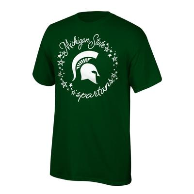 Michigan State Youth Circle Stars Script Short Sleeve Tee