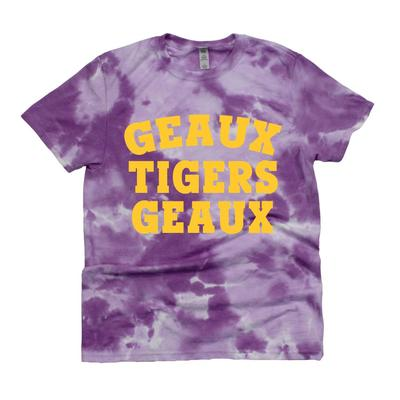 LSU Kickoff Couture Women's Geaux Tigers Good Vibes Tie Dye Short Sleeve Tee