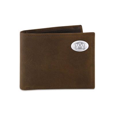 Auburn Leather Bi-fold Wallet with Metal Concho