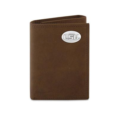 LSU Leather Tri-fold Wallet with Metal Concho