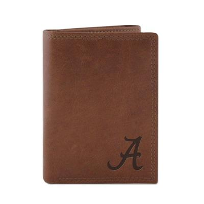 Alabama Leather Embossed Tri-fold Wallet