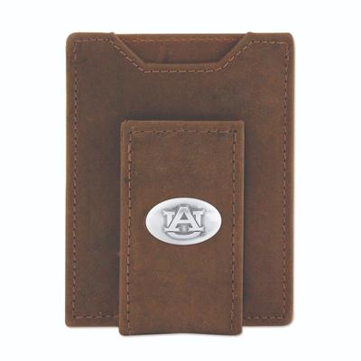 Auburn Leather Front Pocket Wallet with Metal Concho