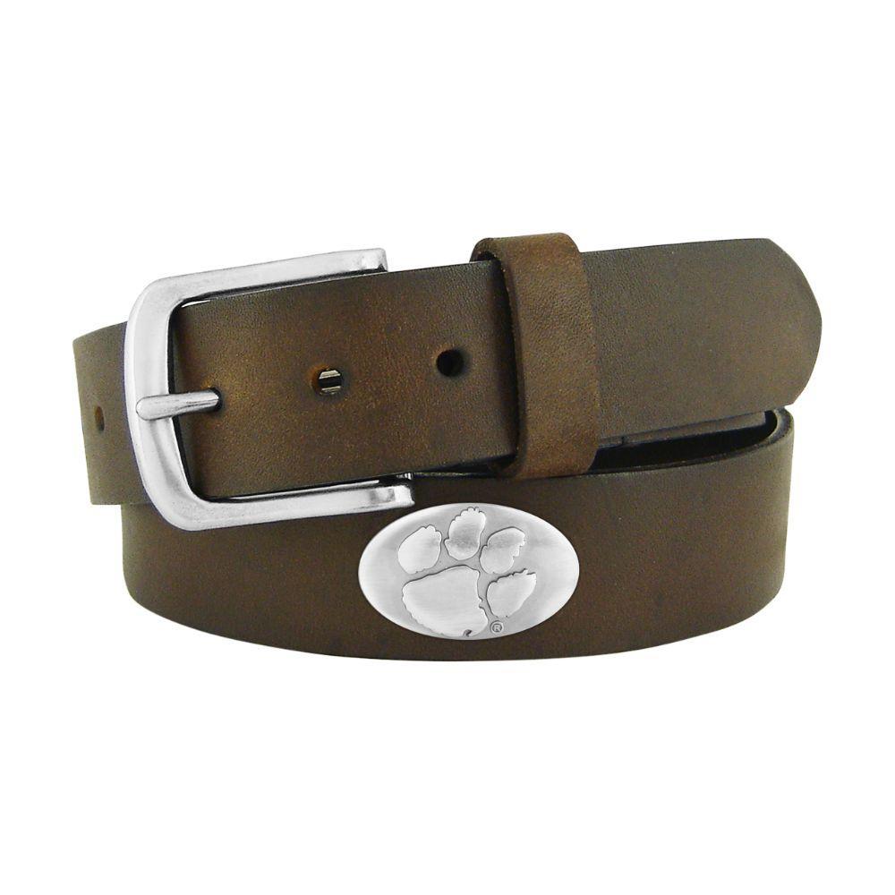 Clemson Brown Metal Concho Belt
