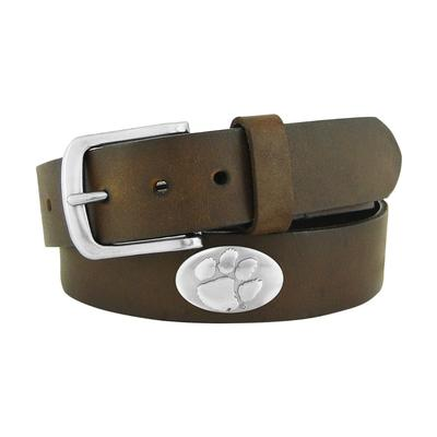 Clemson Brown Metal Concho Belt