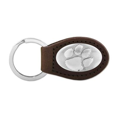 Clemson Metal Concho Oval Key Chain