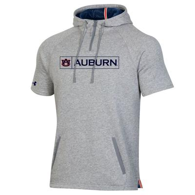 Auburn Under Armour Men's Campus Short Sleeve Fleece Hooded 1/4 Zip Pullover