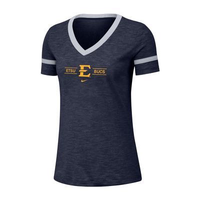 ETSU Nike Women's Dri-fit Cotton Slub V-neck Tee