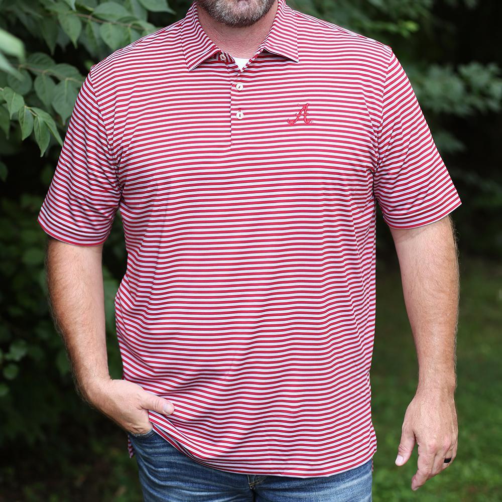 Alabama Men's Peter Millar Mills Stripe Jersey Polo