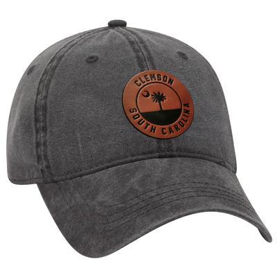Clemson Uscape Faux Leather Seal Vintage Washed Adjustable Hat