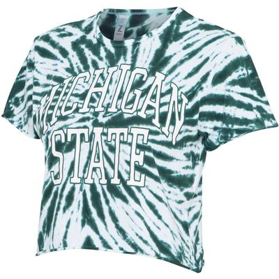 Michigan State Women's Zoozatz Rave Tie Dye Crop Tee