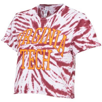 Virginia Tech Women's Zoozatz Rave Tie Dye Crop Tee