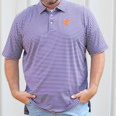 Clemson Men's Peter Millar Mills Stripe Jersey Polo