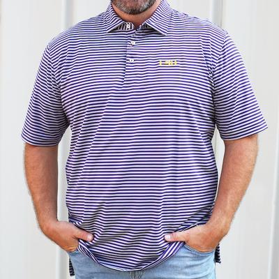 LSU Peter Millar Mills Stripe Jersey Polo