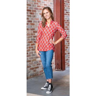 Red, Black, and White Katway Large Print Tunic