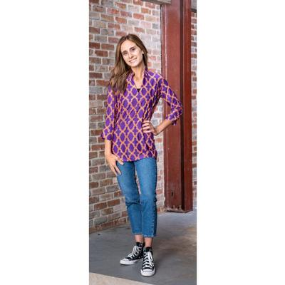 Purple, Orange, and White Katway Large Print Tunic