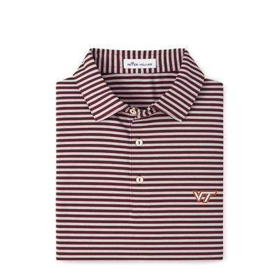 Virginia Tech Peter Millar Mills Stripe Jersey Polo