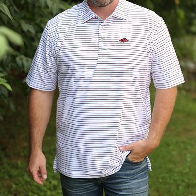 Arkansas Peter Millar Wiggs Stripe Stretch Polo
