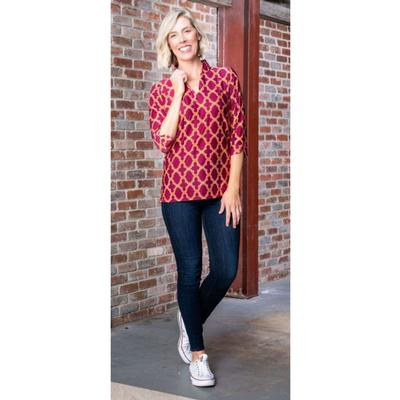 Maroon, Orange, and White Katway Large Print Tunic