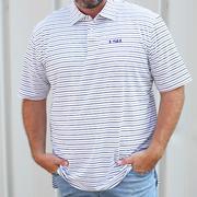 Lsu Peter Millar Wiggs Stripe Stretch Polo