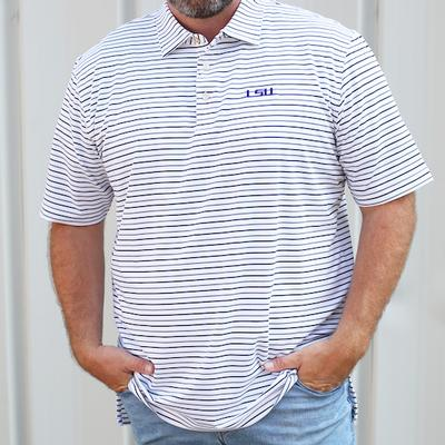 LSU Peter Millar Wiggs Stripe Stretch Polo