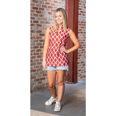 Crimson and White Katway Santa Ana Print Sleeveless Top
