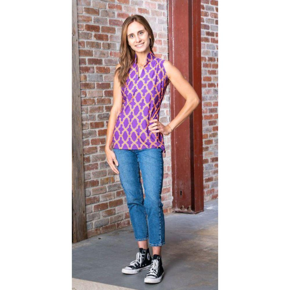 Purple, Orange, And White Katway Santa Ana Print Sleeveless Top