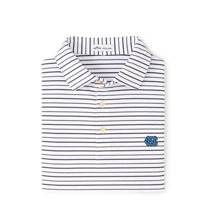 UNC Peter Millar Wiggs Stripe Stretch Polo