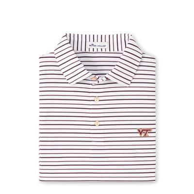 Virginia Tech Peter Millar Wiggs Stripe Stretch Polo