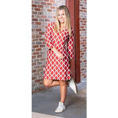 Crimson and White Katway Vero Print Dress