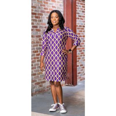 Purple, Gold, and White Katway Vero Print Dress