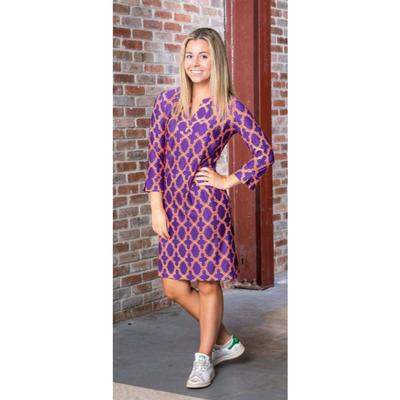 Purple, Orange, and White Katway Vero Print Dress