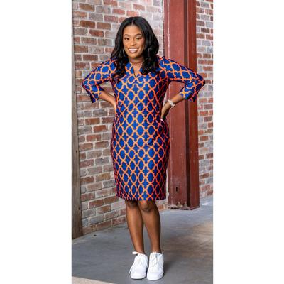 Royal and Orange Katway Vero Print Dress