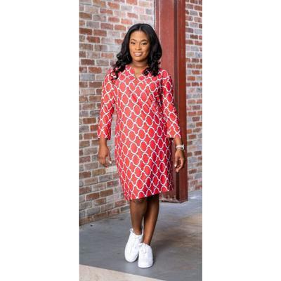 Red, Black, and White Katway Vero Print Dress