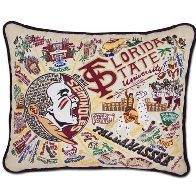 Florida State Hand Embroidered Pillow