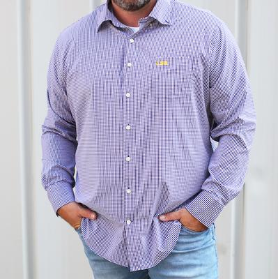 LSU Peter Millar Gingham Stretch Woven Shirt
