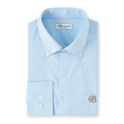 UNC Peter Millar Gingham Stretch Woven Shirt