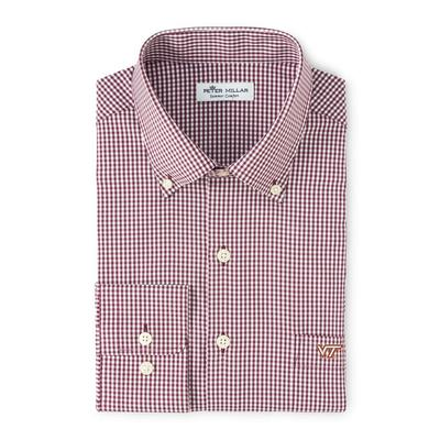 Virginia Tech Peter Millar Gingham Stretch Woven Shirt