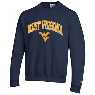 West Virginia Champion Fleece Screen Print Arch with Logo Crew