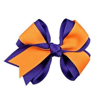 Orange & Purple Fluff Bow