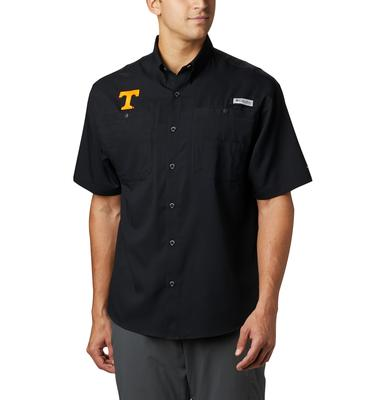 Tennessee Men's Columbia Tamiami Short Sleeve Shirt - Big Sizing BLACK