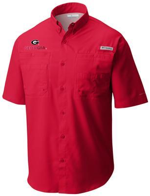 Georgia Men's Columbia Tamiami Short Sleeve Shirt - Tall Sizing RED
