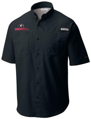 Georgia Men's Columbia Tamiami Short Sleeve Shirt - Big Sizing BLACK