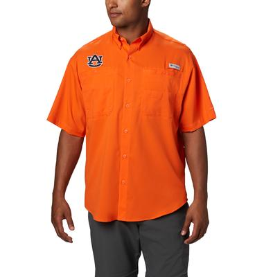 Auburn Men's Columbia Tamiami Short Sleeve Shirt - Tall Sizing ORANGE