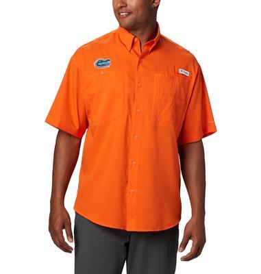 Florida Men's Columbia Tamiami Short Sleeve Shirt - Big Sizing ORANGE