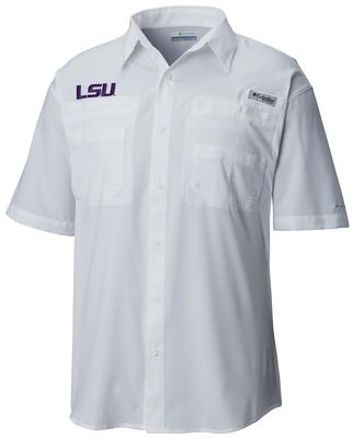 LSU Men's Columbia Tamiami Short Sleeve Shirt - Big Sizing