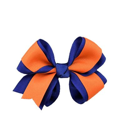 Blue & Orange Fluff Bow