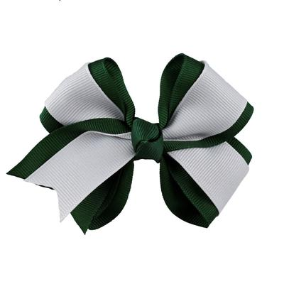 Green & White Fluff Bow